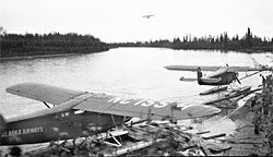 Family float plane fuel dock on the Chena River