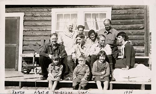 A few of the Buzby family gather at the ranch near Fairbanks, 1935.