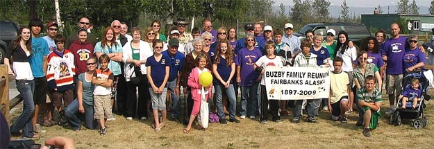 Group photo of about 50 of the family at Fairbanks, July 22, 2007